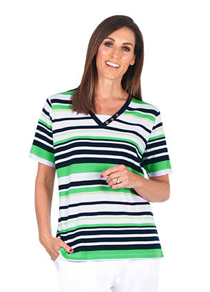 STRIPE Short Sleeved Top - Style 2085