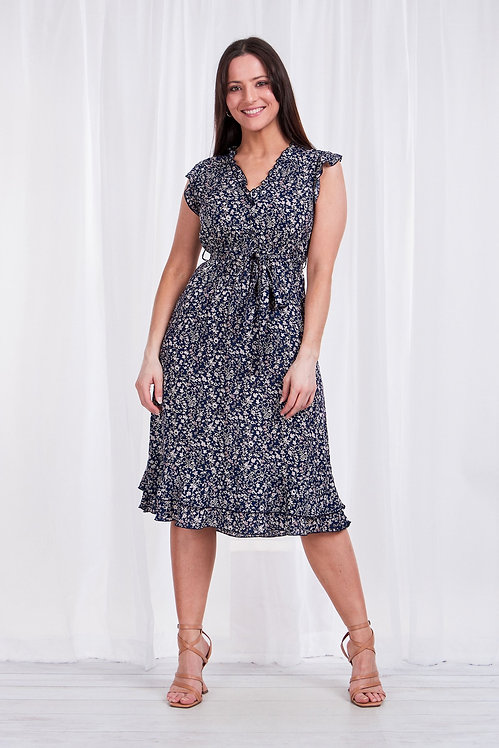 Capped Sleeve Frill Detail Dress - Style D507126