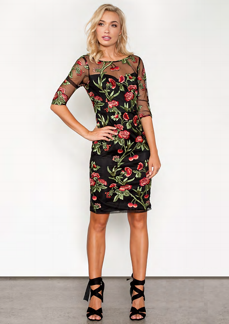 Rose Embroidered Mid Sleeved Cocktail Dress - Style V515