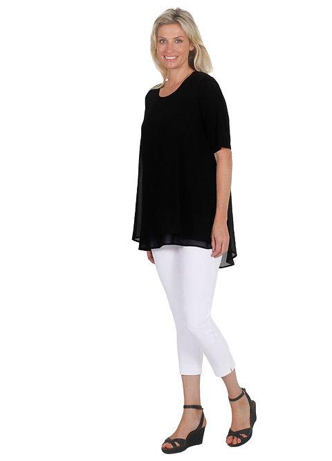 Chiffon Overlay Short Sleeved Top - Style E1265