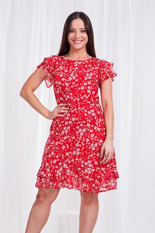 Frill Sleeved Floral Dress - Style D147167