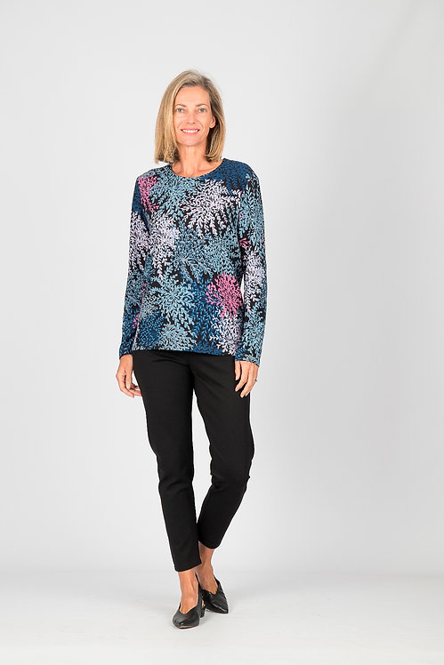 Round Neck Patterned Long Sleeved Top - Style 0604.16