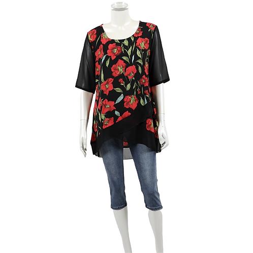 Short Sleeved Flower Print Chiffon Top - Style 62830
