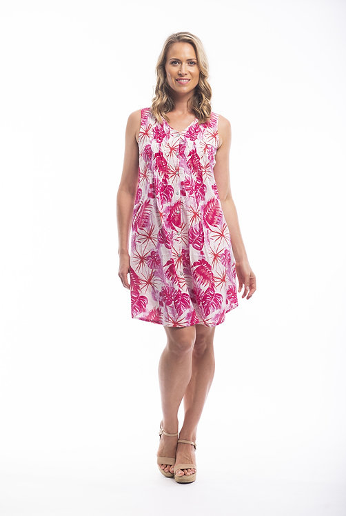 TAVIRA 100% Cotton Cross Pleat Dress - Style 21399