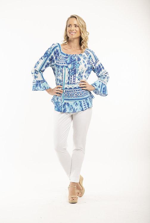 NAVAJIO 100% Rayon Bell Sleeve Print Shirt - Style 52605