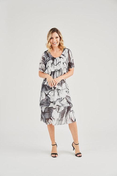 Print Layered Chiffon Dress - Style V2735A