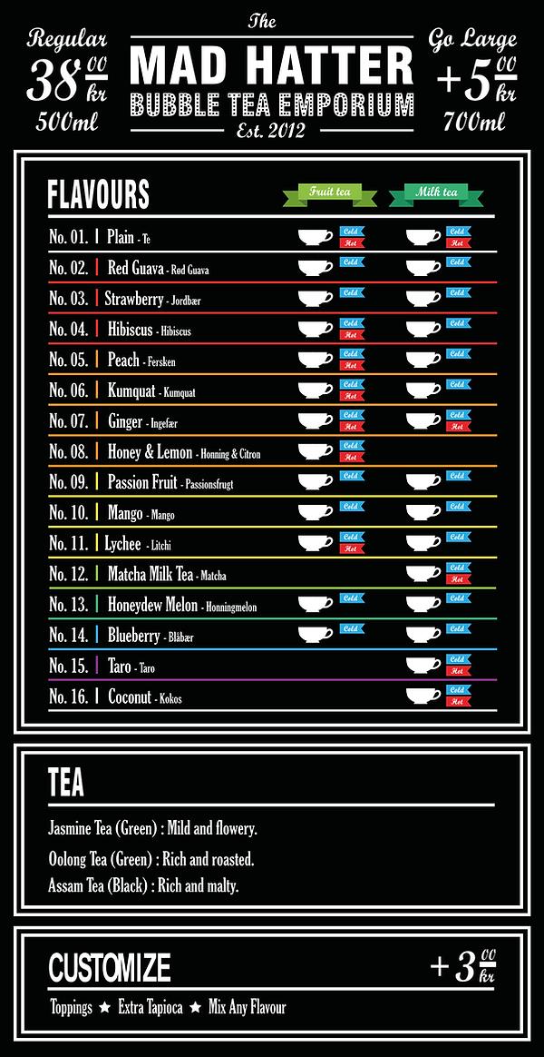 The Mad Hatter Bubble Tea Menu
