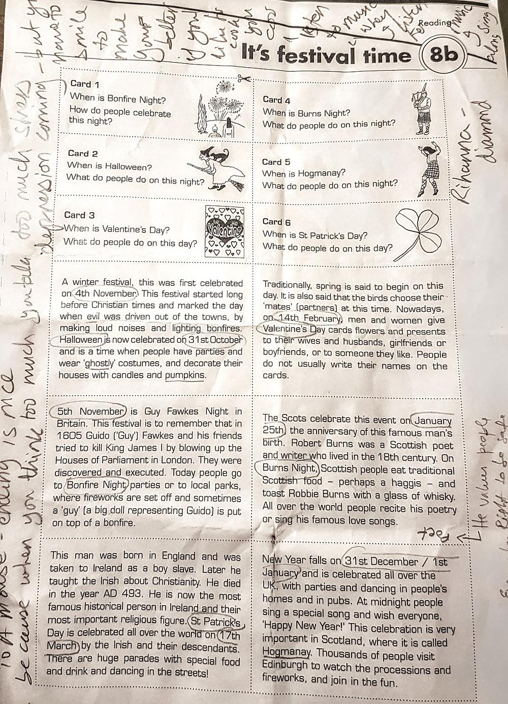 Emmanuel's worksheet, his notes and mine