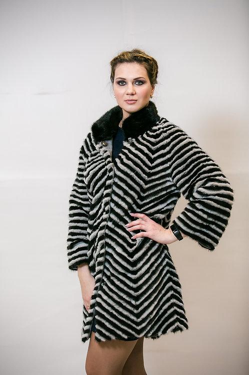 Пальто из меха кролика и норки