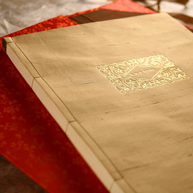 Personal Gift Commission - Japanese 4 Hole Binding - Hand-Made Silk Covers With Decorative Name Plate Foil Blocked