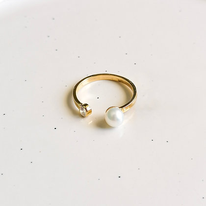 Pearl Stone Open Ring