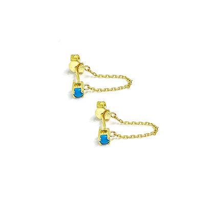Mini Turquoise Chain Studs