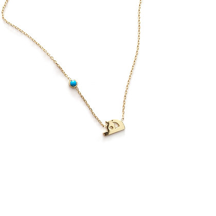 Letter and Side Birthstone Necklace