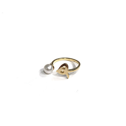 Letter & Pearl Open Ring