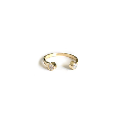 Double Stone Open Ring