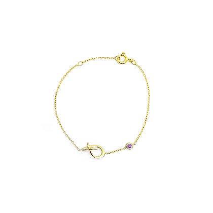 Letter & Birthstone Chain Bracelet