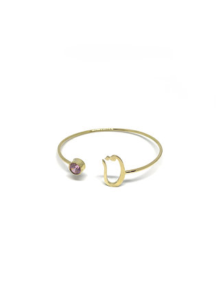 Letter & Birthstone Bangle