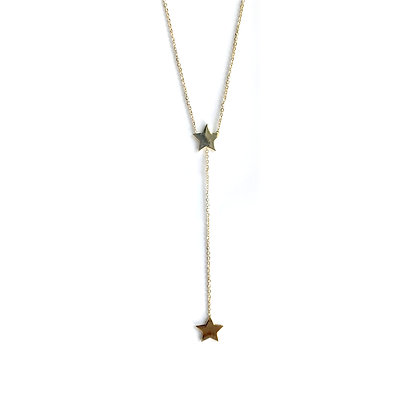 Double Star-Drop Lariat Necklace