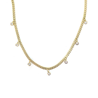 Round Stone Drop Bold Chain Necklace
