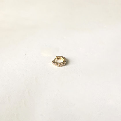 Mini White Huggie Hoop (Single)