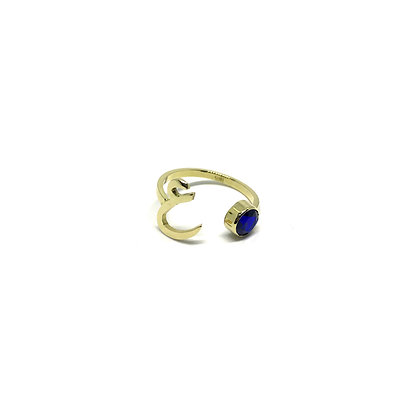 Letter & Birthstone Open Ring