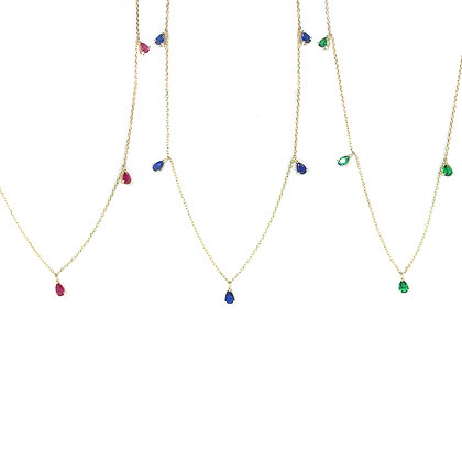 Pear Stone Drop Chain Necklace
