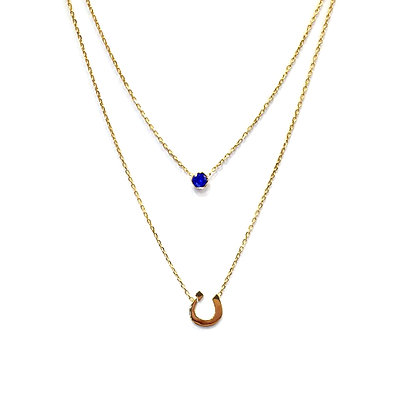 Letter & Birthstone Double Necklace