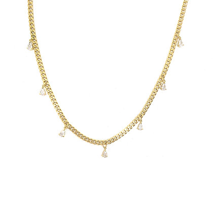 Pear Stone Drop Bold Chain Necklace