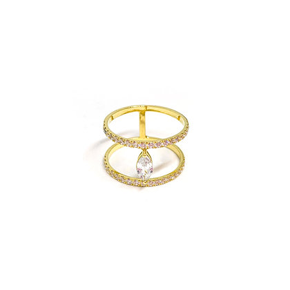 Marquise Double Line Ring