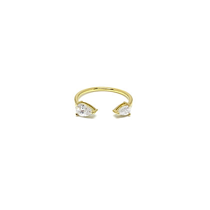 Double Pear Stone Open Ring