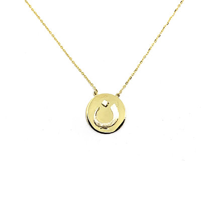 Two-Tone Letter Coin Necklace