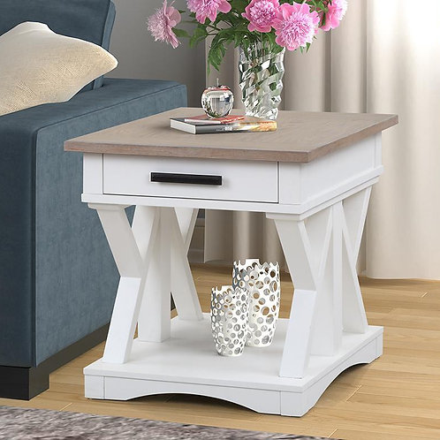 Amber White End Table