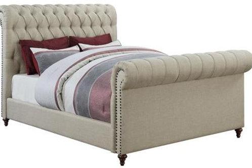 Hannah Cream Upholstered Sleigh Bed