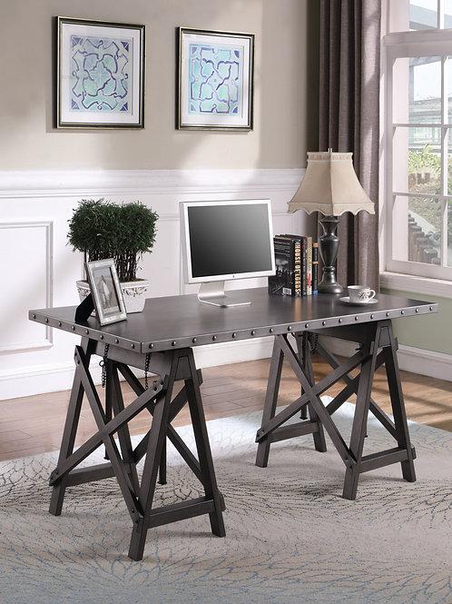 Mikey Adjustable Galvanized Grey Desk