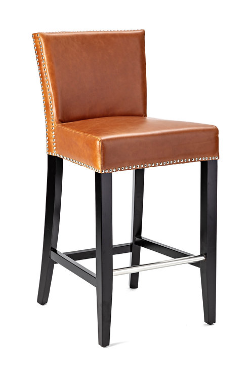 Will Top Grain Leather Bar Stool