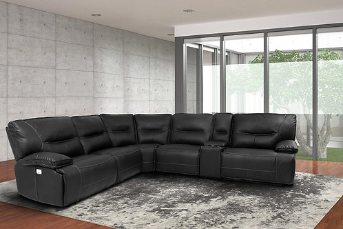 Spartan Black Reclining Sectional