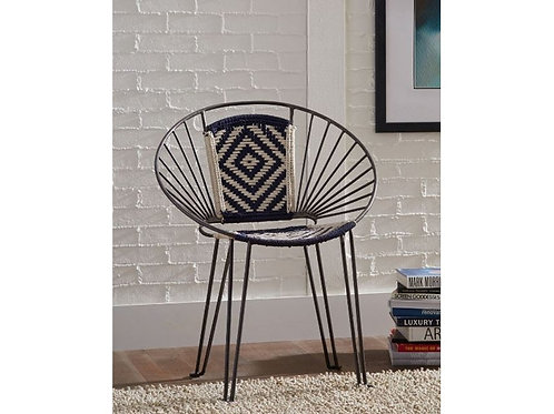 Geometric Navy Accent Chair