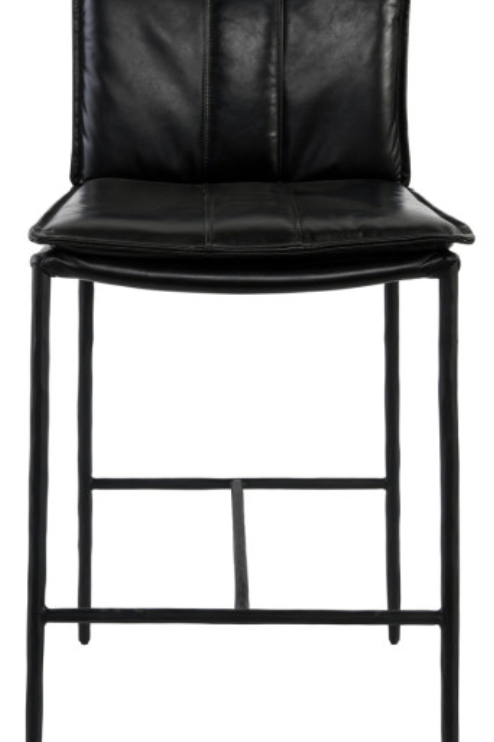 May Black Leather Bar Stool