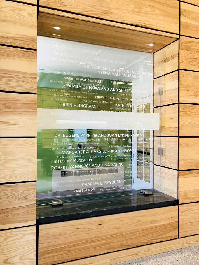 Wordcloud on 3 panels of glass
