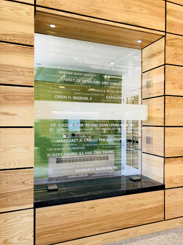 Wordcloud on 3 panels of glass