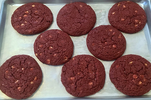 6 Giant Red Velvet White Chocolate Chip Cookies