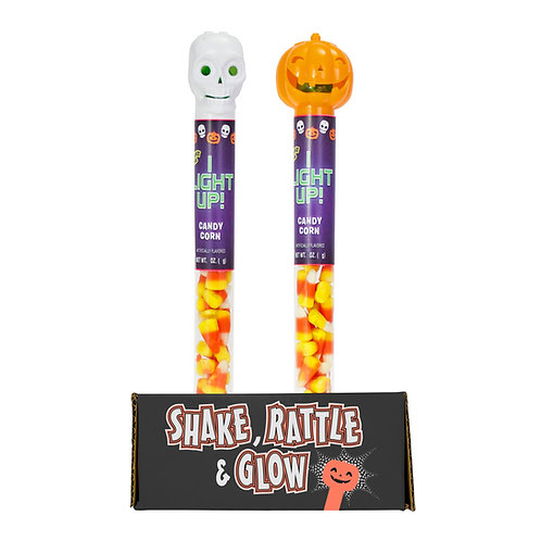 Light-Up Halloween Tubes with Candy Corn
