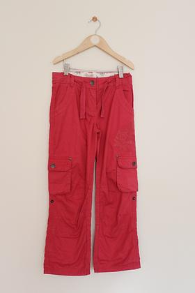Fatface raspberry coloured cargo/utility trousers (age 9)