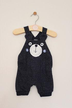 Primark navy jersey bear dungarees (Newborn)