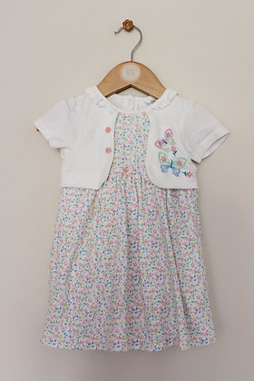 M&Co floral mock layer dress with integrated bodysuit (age 9-12 months)