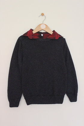 M&S mock layer charcoal grey jumper (age 7-8)