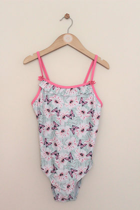 Angels pastel swimsuit with floral / butterfly design (age 9-10)