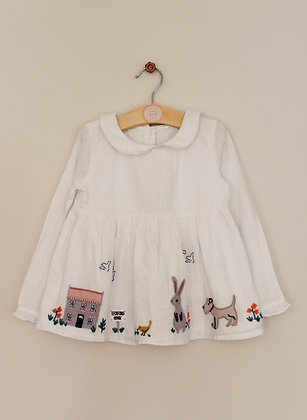 John Lewis cotton embroidered lined long sleeved top (age 2-3)