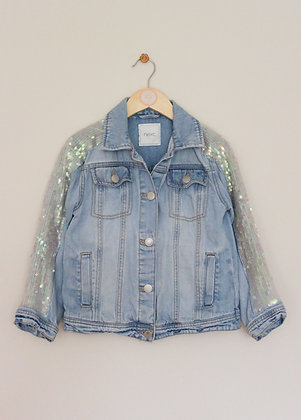 Next light wash denim jacket with sequinned arms  (age 8)