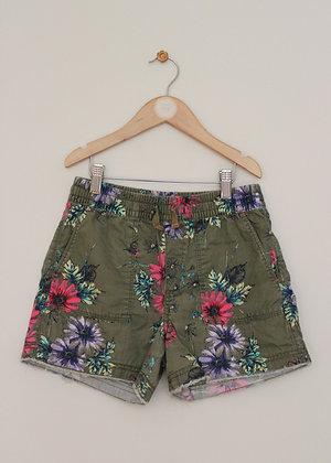 Gap khaki floral pull on shorts (age 10-11)